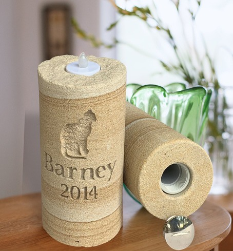 Sandstone Candle Pet Memorial by Talking Stones